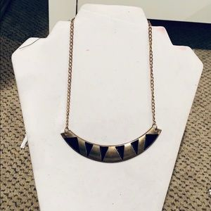 Vintage Black and gold plate necklace